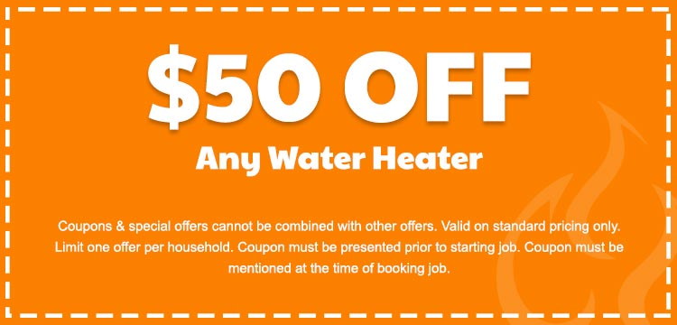 discount on any water heater services in Edmonton, AB