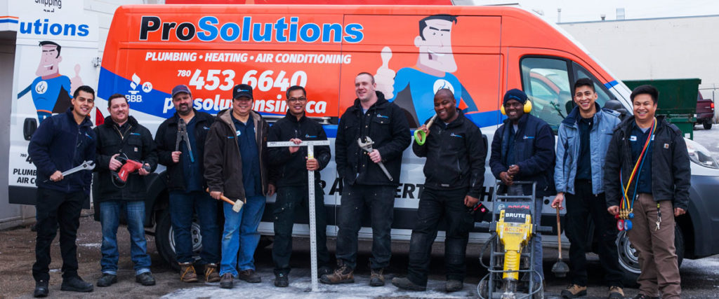 furnace installation van with group of employees from prosolutions plumbing, heating & ac.